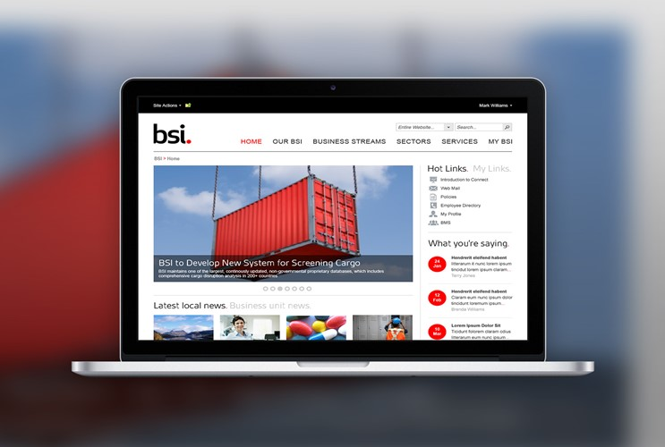 BSI's intranet created by Brightstarr on MacBook